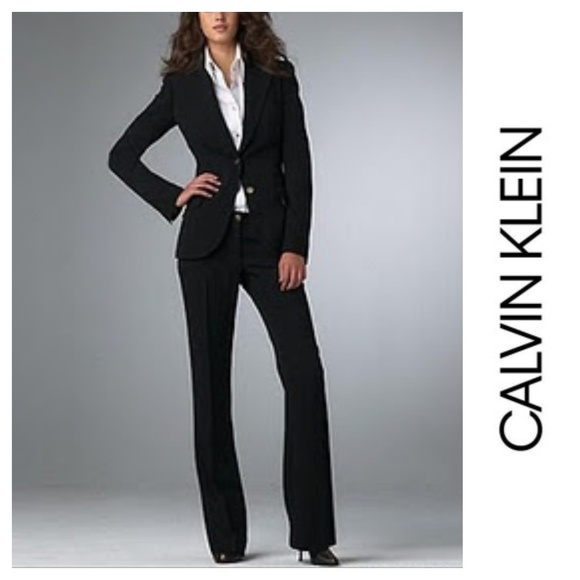 Calvin Klein Jackets Coats Womens Fitted Black Pant Suit Size 2